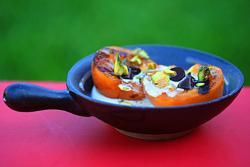 Grilled apricots with chocolate // via Cheryl Sternman Rule of 5 Second Rule